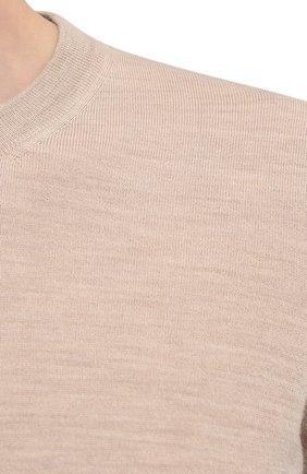 Мужской джемпер из шерсти и кашемира BRUNELLO CUCINELLI бежевого цвета, арт. M2400100   Фото 5 (Мужское Кросс-КТ: Джемперы; Материал внешний: Шерсть; Рукава: Длинные; Принт: Без принта; Длина (для топов): Стандартные; Вырез: Круглый; Стили: Кэжуэл)