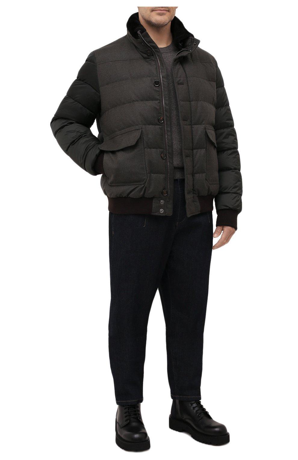 Мужской пуховый бомбер fantoni-shl MOORER темно-зеленого цвета, арт. FANT0NI-SHL/M0UGI100177-TEPA235/60-68   Фото 2 (Кросс-КТ: Куртка; Big sizes: Big Sizes; Мужское Кросс-КТ: пуховик-короткий; Рукава: Длинные; Принт: Без принта; Материал внешний: Синтетический материал; Длина (верхняя одежда): Короткие; Стили: Кэжуэл)