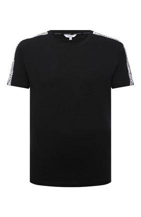 Мужская хлопковая футболка CALVIN KLEIN черного цвета, арт. KM0KM00607   Фото 1 (Материал внешний: Хлопок; Принт: Без принта; Рукава: Короткие; Кросс-КТ: Пляж; Стили: Спорт-шик; Длина (для топов): Стандартные)
