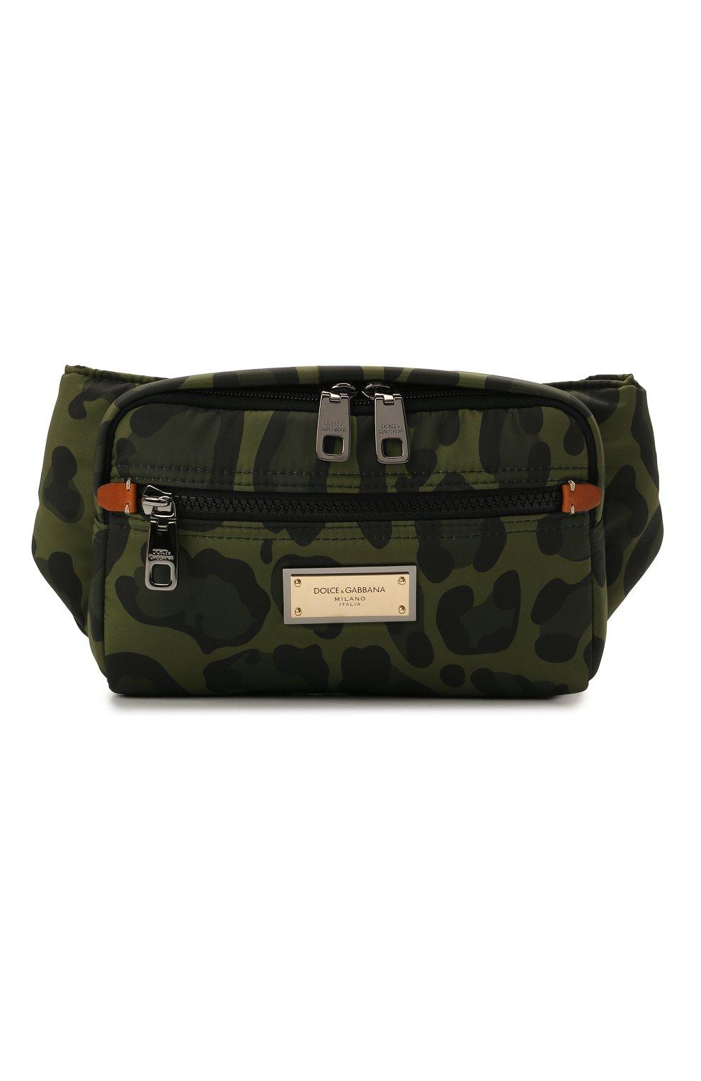 Мужская текстильная поясная сумка nero sicilia dna DOLCE & GABBANA хаки цвета, арт. BM1967/A0885 | Фото 1