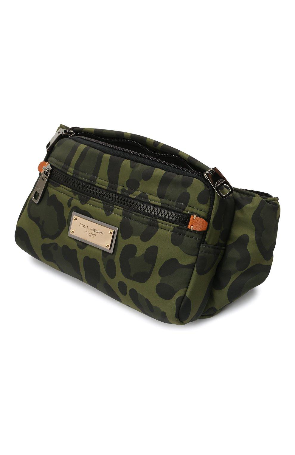 Мужская текстильная поясная сумка nero sicilia dna DOLCE & GABBANA хаки цвета, арт. BM1967/A0885 | Фото 4