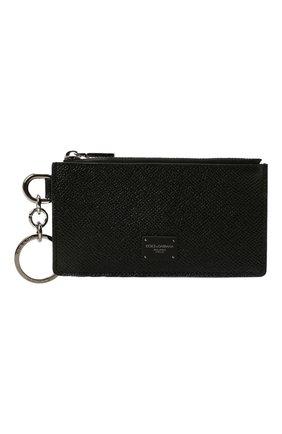 Мужской кожаный футляр для кредитных карт DOLCE & GABBANA черного цвета, арт. BP2524/AZ602 | Фото 1