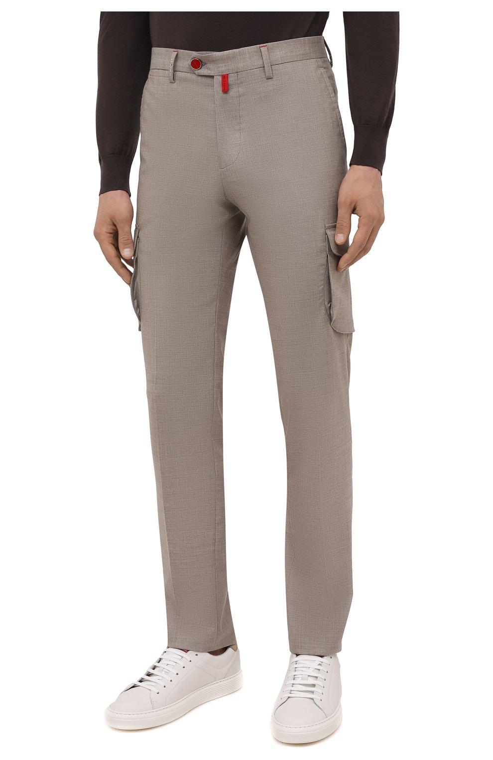 Мужские кашемировые брюки-карго KITON бежевого цвета, арт. UFPPCAJ0325A   Фото 3