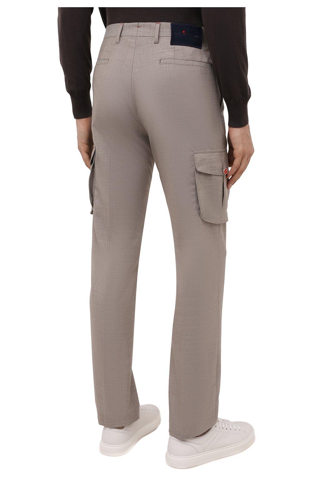Мужские кашемировые брюки-карго KITON бежевого цвета, арт. UFPPCAJ0325A   Фото 4