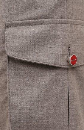 Мужские кашемировые брюки-карго KITON бежевого цвета, арт. UFPPCAJ0325A   Фото 5