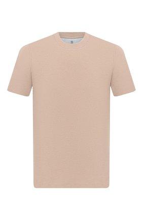Мужская хлопковая футболка  BRUNELLO CUCINELLI бежевого цвета, арт. M0T611308 | Фото 1 (Материал внешний: Хлопок; Длина (для топов): Стандартные; Принт: Без принта; Стили: Кэжуэл; Рукава: Короткие)