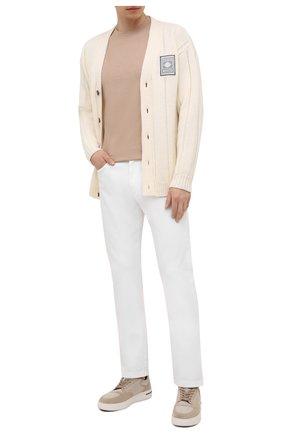 Мужская хлопковая футболка  BRUNELLO CUCINELLI бежевого цвета, арт. M0T611308 | Фото 2 (Материал внешний: Хлопок; Длина (для топов): Стандартные; Принт: Без принта; Стили: Кэжуэл; Рукава: Короткие)