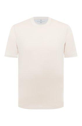 Мужская хлопковая футболка  BRUNELLO CUCINELLI белого цвета, арт. M0T611308 | Фото 1