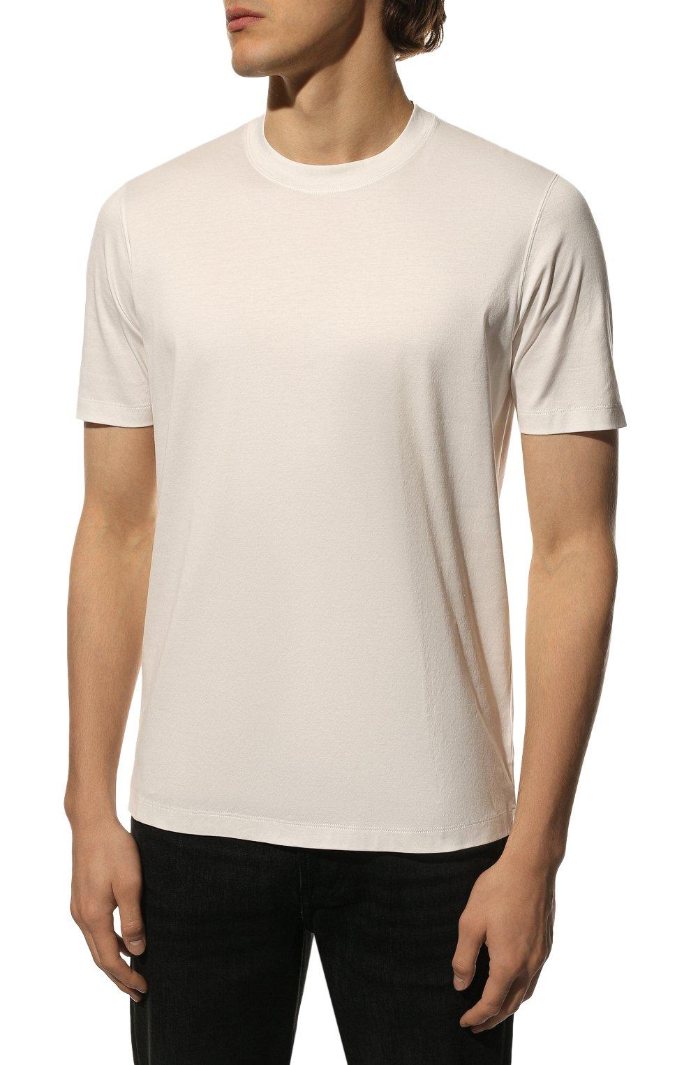 Мужская хлопковая футболка  BRUNELLO CUCINELLI белого цвета, арт. M0T611308 | Фото 3