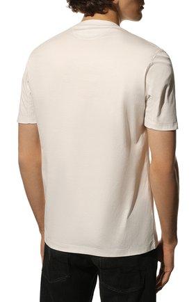 Мужская хлопковая футболка  BRUNELLO CUCINELLI белого цвета, арт. M0T611308 | Фото 4