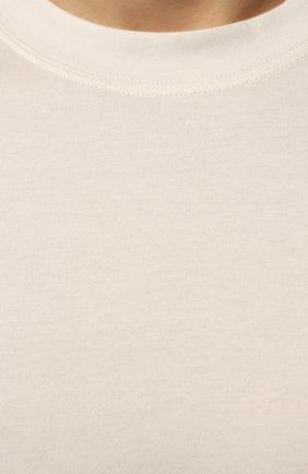 Мужская хлопковая футболка  BRUNELLO CUCINELLI белого цвета, арт. M0T611308 | Фото 5
