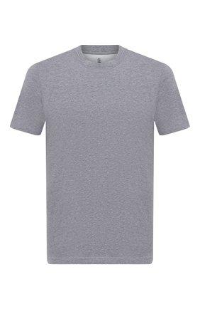 Мужская хлопковая футболка  BRUNELLO CUCINELLI серого цвета, арт. M0T611308 | Фото 1 (Материал внешний: Хлопок; Длина (для топов): Стандартные; Принт: Без принта; Рукава: Короткие; Стили: Кэжуэл)