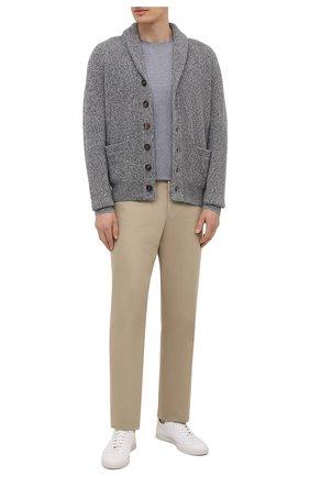 Мужская хлопковая футболка  BRUNELLO CUCINELLI серого цвета, арт. M0T611308 | Фото 2 (Материал внешний: Хлопок; Длина (для топов): Стандартные; Принт: Без принта; Рукава: Короткие; Стили: Кэжуэл)