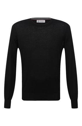Мужской джемпер из кашемира и шелка BRUNELLO CUCINELLI черного цвета, арт. M2300100 | Фото 1