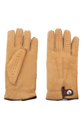 Мужские замшевые перчатки BRUNELLO CUCINELLI бежевого цвета, арт. MPMS93608 | Фото 2 (Мужское Кросс-КТ: Кожа и замша)