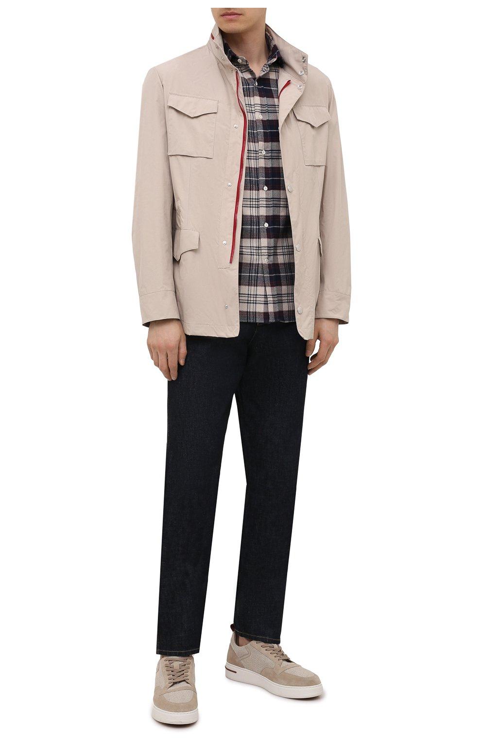 Мужская хлопковая рубашка BRUNELLO CUCINELLI разноцветного цвета, арт. MQ4433029 | Фото 2