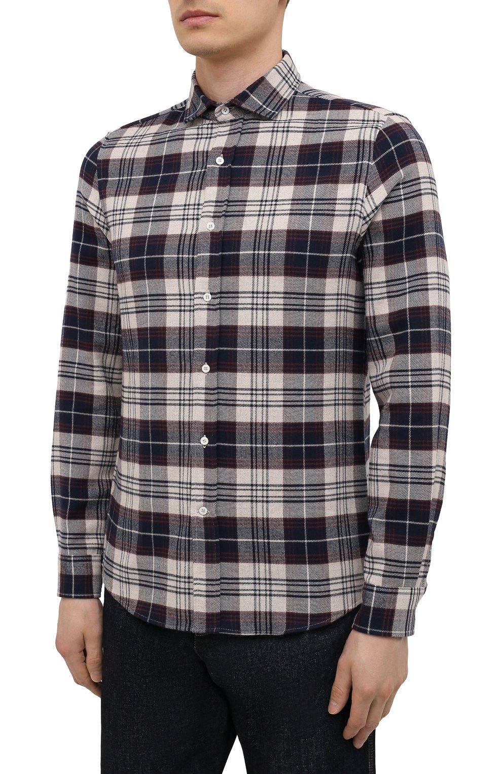 Мужская хлопковая рубашка BRUNELLO CUCINELLI разноцветного цвета, арт. MQ4433029 | Фото 3