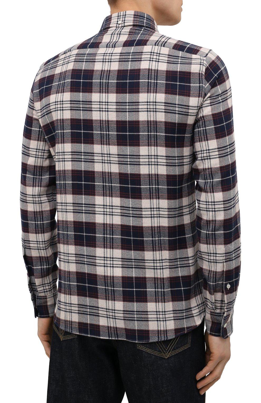 Мужская хлопковая рубашка BRUNELLO CUCINELLI разноцветного цвета, арт. MQ4433029 | Фото 4