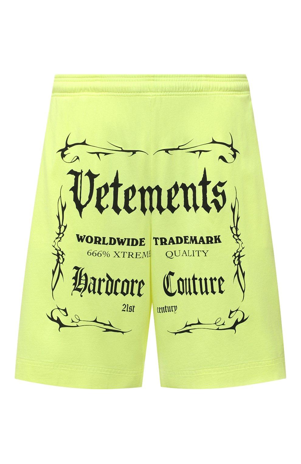 Мужские хлопковые шорты VETEMENTS светло-зеленого цвета, арт. UA52TR400Y 1610/M   Фото 1 (Длина Шорты М: До колена; Кросс-КТ: Трикотаж; Материал внешний: Хлопок; Стили: Спорт-шик)