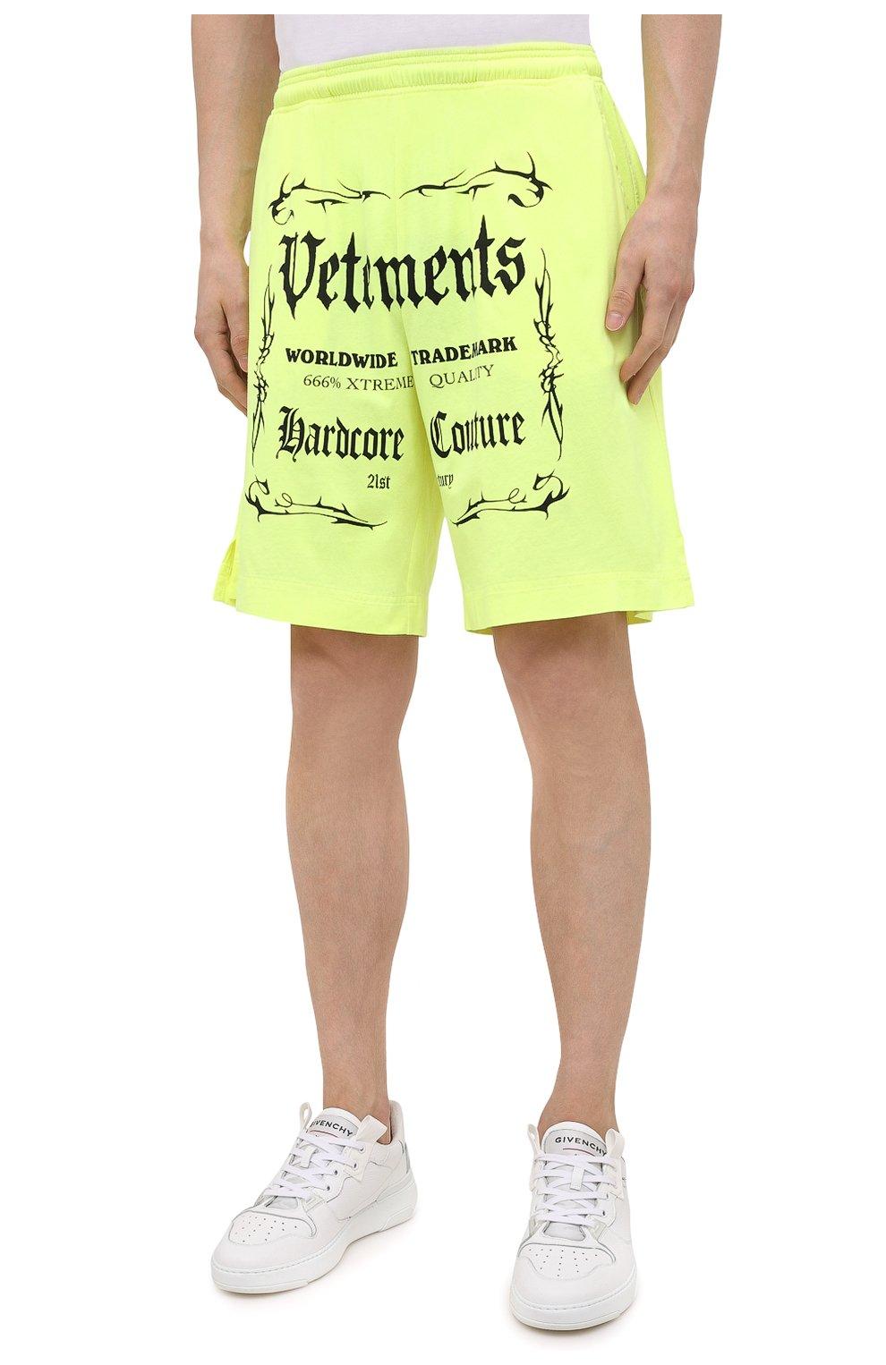 Мужские хлопковые шорты VETEMENTS светло-зеленого цвета, арт. UA52TR400Y 1610/M   Фото 3 (Длина Шорты М: До колена; Кросс-КТ: Трикотаж; Материал внешний: Хлопок; Стили: Спорт-шик)