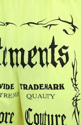 Мужские хлопковые шорты VETEMENTS светло-зеленого цвета, арт. UA52TR400Y 1610/M   Фото 5 (Длина Шорты М: До колена; Кросс-КТ: Трикотаж; Материал внешний: Хлопок; Стили: Спорт-шик)