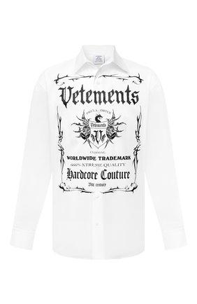 Мужская хлопковая рубашка VETEMENTS белого цвета, арт. UA52SH500W 1005/M | Фото 1