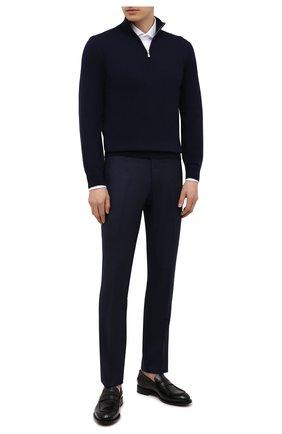 Мужские шерстяные брюки MARCO PESCAROLO темно-синего цвета, арт. SLIM80/ZIP/4423 | Фото 2