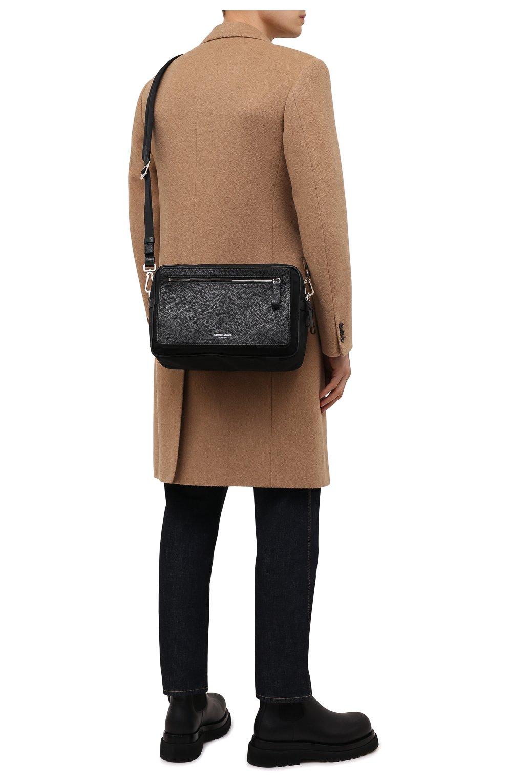Мужская комбинированная сумка GIORGIO ARMANI черного цвета, арт. Y2M247/YI68E | Фото 2