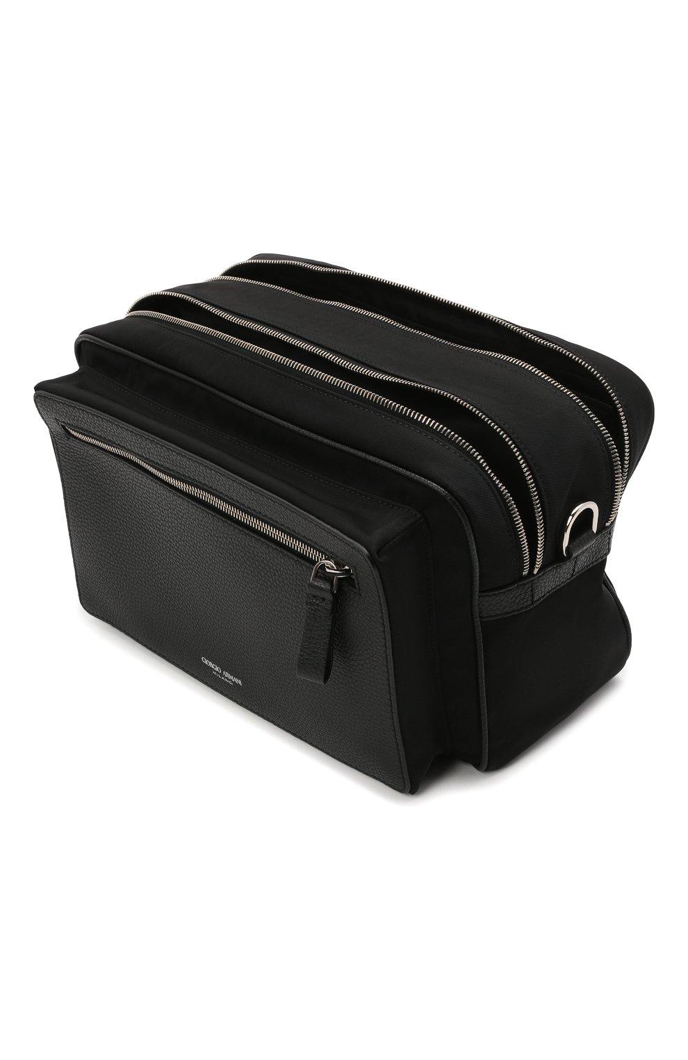 Мужская комбинированная сумка GIORGIO ARMANI черного цвета, арт. Y2M247/YI68E | Фото 4