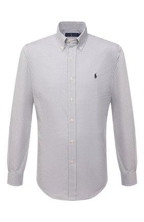 Мужская хлопковая рубашка POLO RALPH LAUREN серого цвета, арт. 710842631/4656E | Фото 1