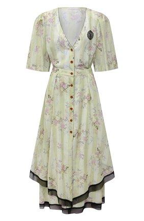 Женское хлопковое платье ULYANA SERGEENKO светло-зеленого цвета, арт. ABM001SS21Resort  (0641т21) | Фото 1
