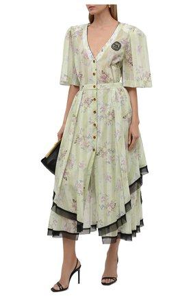 Женское хлопковое платье ULYANA SERGEENKO светло-зеленого цвета, арт. ABM001SS21Resort  (0641т21) | Фото 2