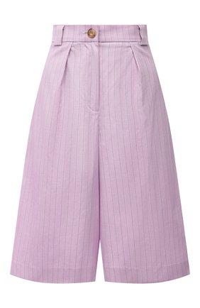 Женские хлопковые шорты LESYANEBO лилового цвета, арт. SS21/Н-577 | Фото 1 (Материал внешний: Хлопок; Стили: Романтичный; Женское Кросс-КТ: Шорты-одежда; Кросс-КТ: Широкие; Длина Ж (юбки, платья, шорты): До колена, Миди)