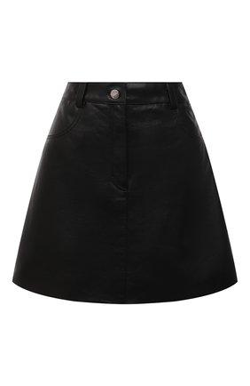 Женская кожаная юбка BATS черного цвета, арт. SS21_S10   Фото 1 (Стили: Гламурный; Длина Ж (юбки, платья, шорты): Мини; Женское Кросс-КТ: Юбка-одежда)