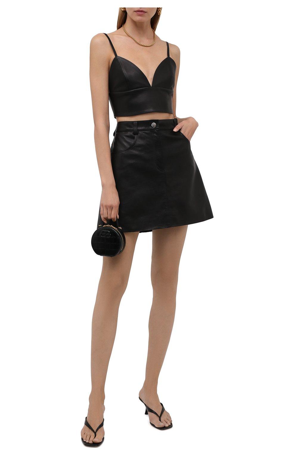 Женская кожаная юбка BATS черного цвета, арт. SS21_S10   Фото 2 (Стили: Гламурный; Длина Ж (юбки, платья, шорты): Мини; Женское Кросс-КТ: Юбка-одежда)