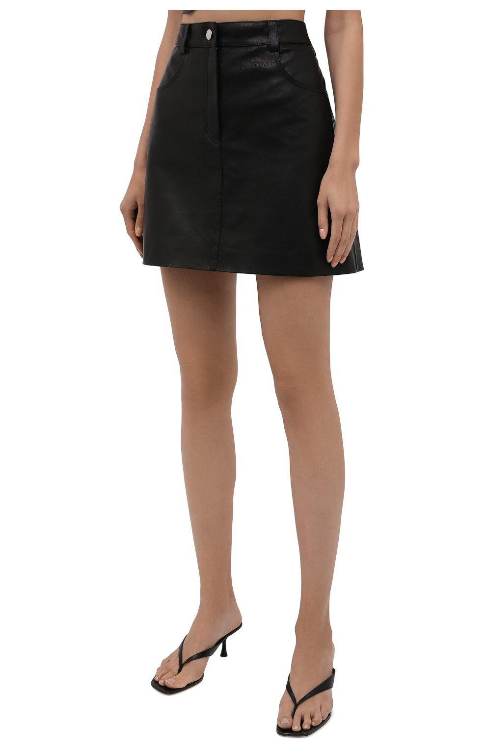 Женская кожаная юбка BATS черного цвета, арт. SS21_S10   Фото 3 (Стили: Гламурный; Длина Ж (юбки, платья, шорты): Мини; Женское Кросс-КТ: Юбка-одежда)