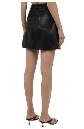 Женская кожаная юбка BATS черного цвета, арт. SS21_S10   Фото 4 (Стили: Гламурный; Длина Ж (юбки, платья, шорты): Мини; Женское Кросс-КТ: Юбка-одежда)