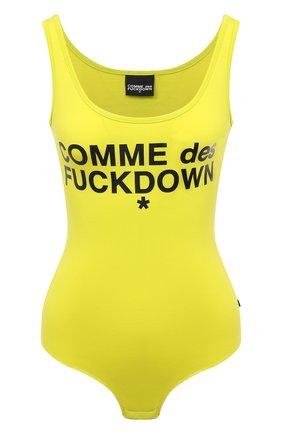 Женское хлопковое боди COMME DES FUCKDOWN желтого цвета, арт. CDFD1352 | Фото 1