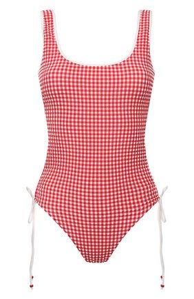 Женский слитный купальник LA PERLA красного цвета, арт. 004228C | Фото 1 (Длина Ж (юбки, платья, шорты): Мини; Материал внешний: Синтетический материал; Женское Кросс-КТ: Слитные купальники)