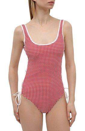 Женский слитный купальник LA PERLA красного цвета, арт. 004228C | Фото 2 (Длина Ж (юбки, платья, шорты): Мини; Материал внешний: Синтетический материал; Женское Кросс-КТ: Слитные купальники)