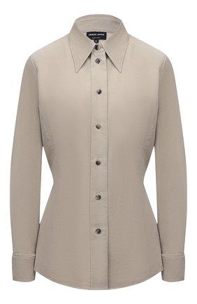 Женская хлопковая рубашка GIORGIO ARMANI бежевого цвета, арт. 1WHCCZ08/TZ930   Фото 1