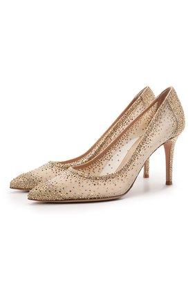 Женские комбинированные туфли rania 85 GIANVITO ROSSI золотого цвета, арт. G20475.85RIC.B0RMENU | Фото 1