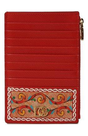 Женский кожаный футляр для кредитных карт DOLCE & GABBANA оранжевого цвета, арт. BI1390/AW425 | Фото 1