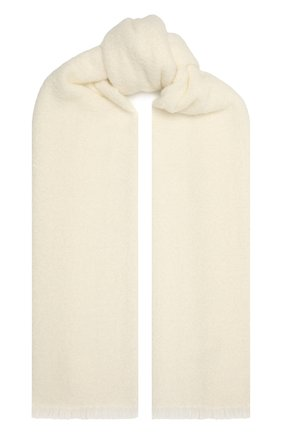 Женский кашемировый шарф BRUNELLO CUCINELLI молочного цвета, арт. MSCDVSW05 | Фото 1 (Материал: Кашемир, Шерсть)