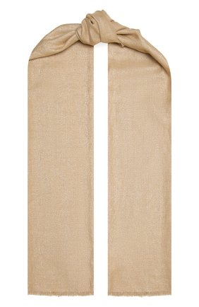 Женский шарф из смеси кашемира и шелка BRUNELLO CUCINELLI золотого цвета, арт. MSCDAR097P   Фото 1 (Материал: Шерсть, Кашемир, Текстиль)