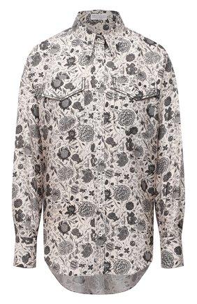 Женская шелковая рубашка BRUNELLO CUCINELLI бежевого цвета, арт. MD925RD306 | Фото 1 (Материал внешний: Шелк; Женское Кросс-КТ: Рубашка-одежда; Стили: Кэжуэл; Рукава: Длинные; Принт: С принтом; Длина (для топов): Удлиненные)