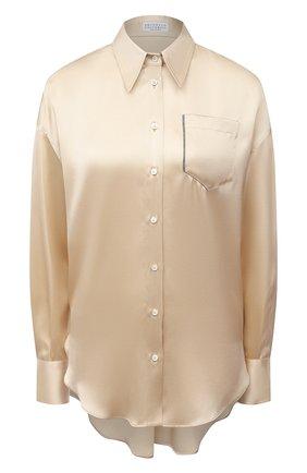 Женская шелковая рубашка BRUNELLO CUCINELLI бежевого цвета, арт. M0C59NC346   Фото 1 (Материал внешний: Шелк; Принт: Без принта; Стили: Романтичный; Женское Кросс-КТ: Рубашка-одежда; Рукава: Длинные; Длина (для топов): Удлиненные)