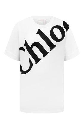 Женская хлопковая футболка CHLOÉ белого цвета, арт. CHC21AJH13184   Фото 1