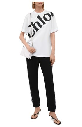 Женская хлопковая футболка CHLOÉ белого цвета, арт. CHC21AJH13184   Фото 2