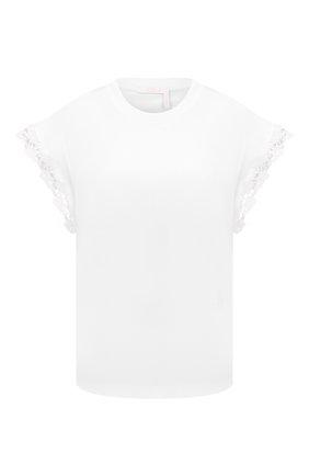 Женская хлопковая футболка CHLOÉ белого цвета, арт. CHC21AJH37182   Фото 1